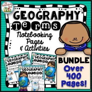 Geography Terms Bundle includes anchor posters, tracing and coloring pages, flash cards, notebooking pages and more!!