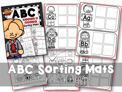 ABC Sorting Mats (B&W) Samples