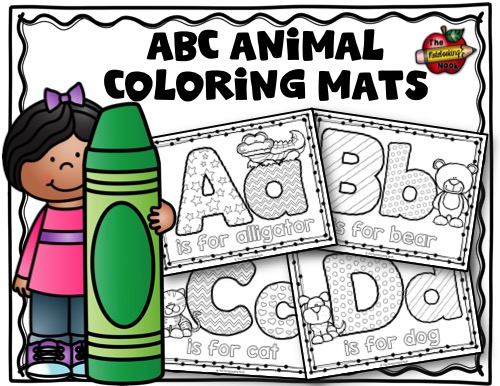 Alphabet Animals Coloring Mats Sample
