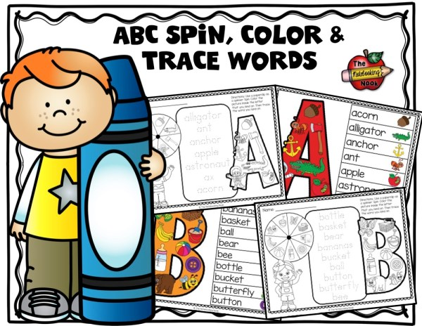 Now I Know My ABC's Spin, Color and Trace Words Samples