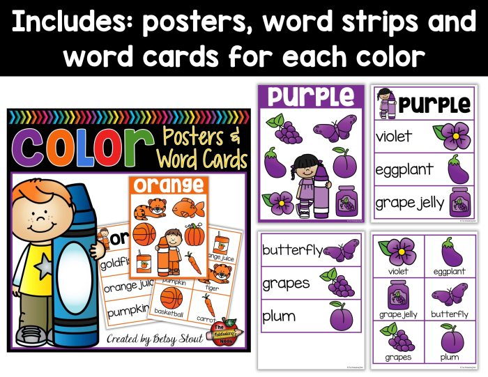 Color Posters, Word Strips and Word Cards Samples
