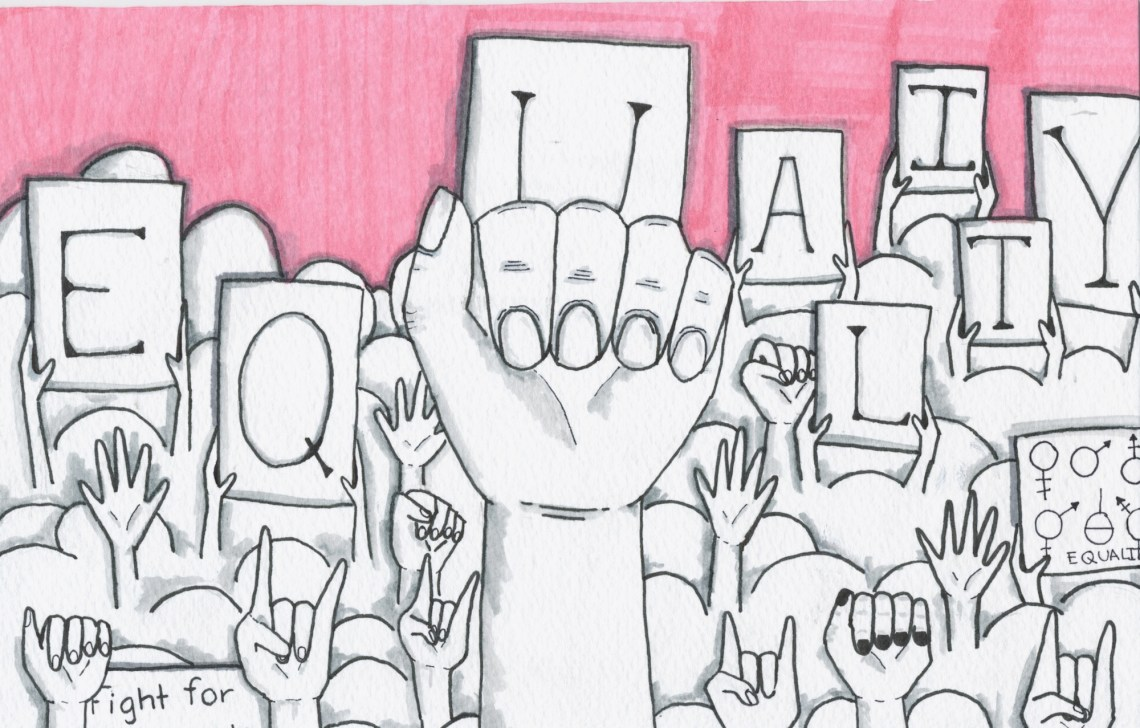 Illustration of hands and banners around gender equality