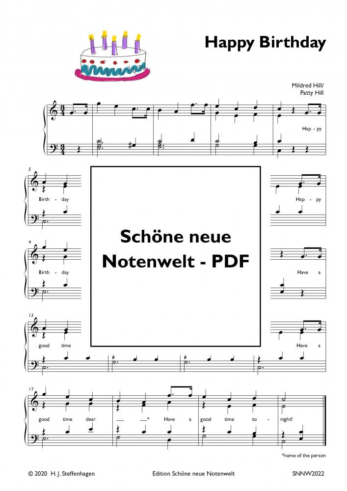 Happy Birthday Piano Pdf Schone Neue Notenwelt Pdf