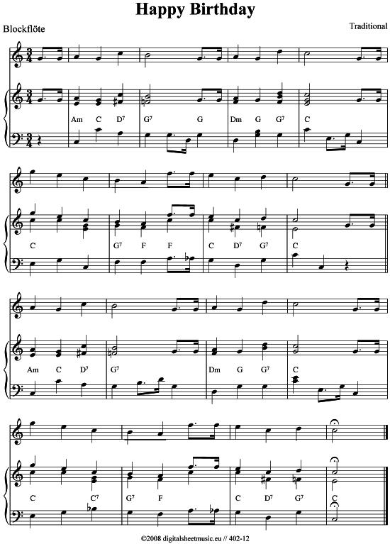 Happy Birthday Blockflote Klavier Pdf Noten Von Traditional In 402 12