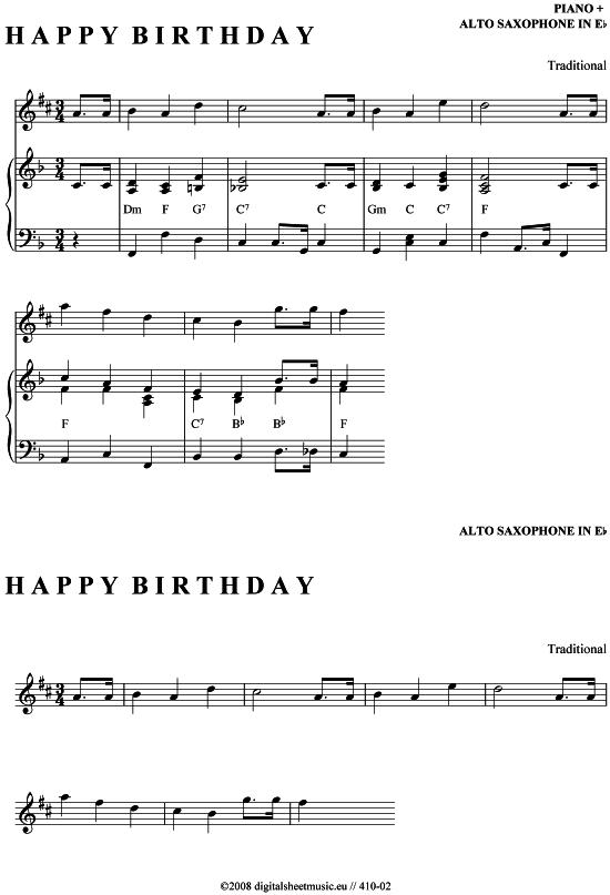 Happy Birthday Es Alt Sax Klavier Pdf Noten Von Traditional In 410 02