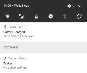 Tasker total charging time