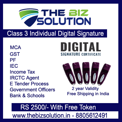 Paperless Class 3 Individual Digital Signature Lowest Price Free Home Delivery