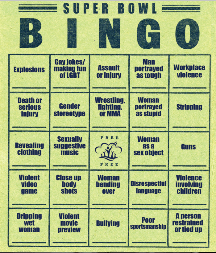 Superbowl Bingo from riverviewcenter.org
