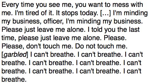 Last Words of Eric Garner