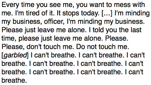 Last Words of Eric Garner