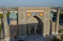 Ulugbek Moschee vom Minarett aus gesehen