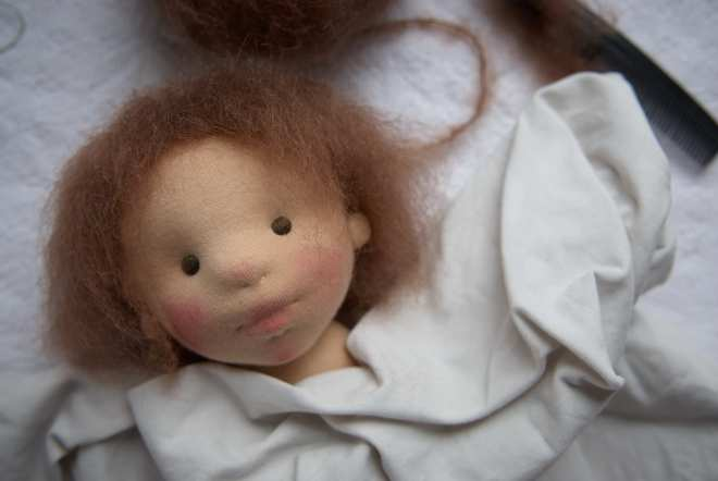 In progress: doll head, Atelier Björkåsa