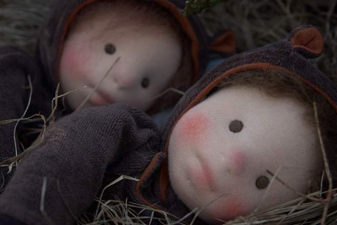 Ursa and Bjarne (The Bear Children), two handmade clothdolls by Atelier Björkåsa