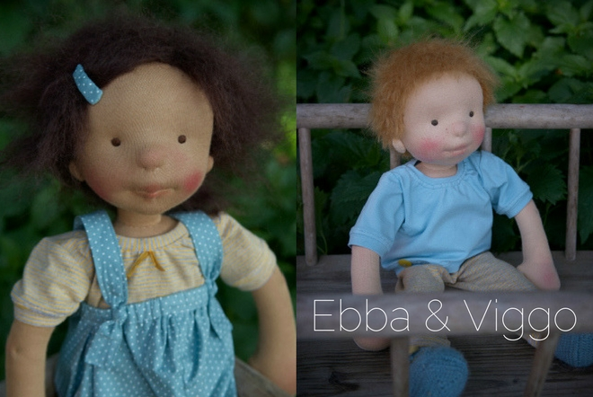 Ebba and Viggo, two OOAK cloth dolls by Atelier Björkåsa