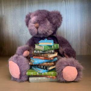purple teddy with book stack