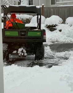 snow plow on driveway
