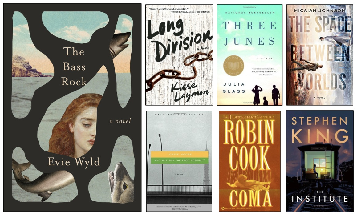 Book covers: The Bass Rock, Long Division, Three Junes, The Space Between Worlds, ho Will Run the Frog Hospital?, Coma, The Institute