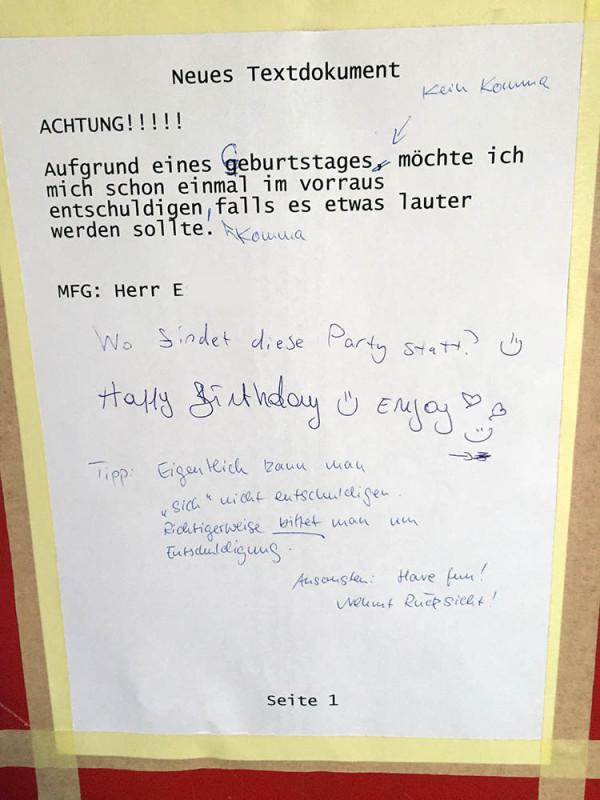 Geburtstagsfeier Berlin Kreuzberg Nachbarn