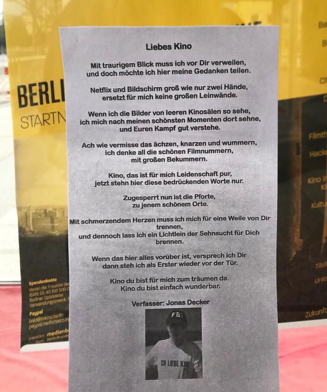 Berliner Progammkinos Ein Cineast Schreibt Ruhrendes Gedicht
