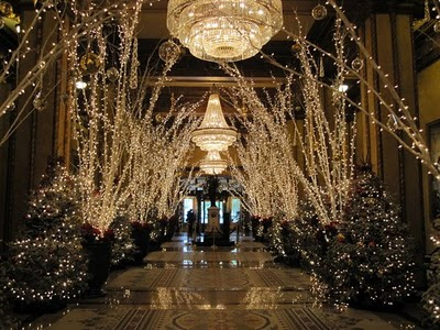 roosevelt lobby during christmas