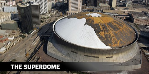 The roof of the Superdome after Hurrican Katrina