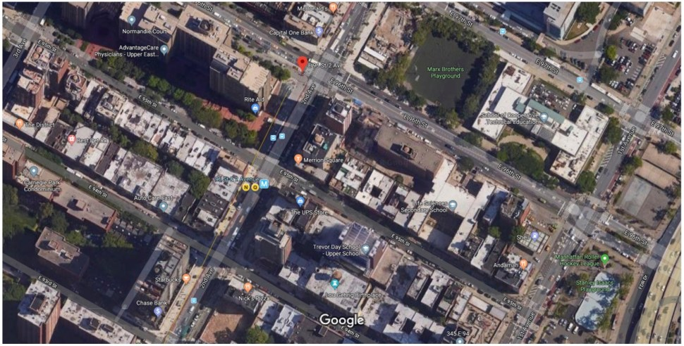The Marx Brothers Playground is closer than the Stanley Issacs Playground to 96th St Subway Station. Courtesy of Google Maps.