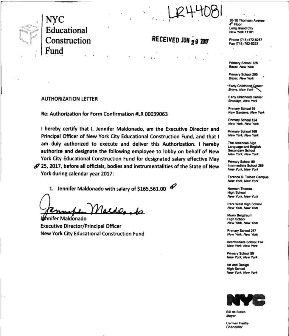 Jennifer Maldonado designates herself a lobbyist. Document courtesy of jcope.ny.gov. June 2017.