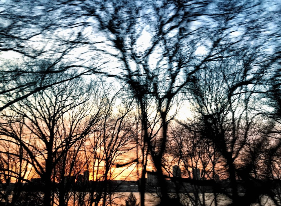 Sunset on the Hudson River. Riverside Drive and West 81st Street. Photo by Rick Stachura. March 14, 2019.