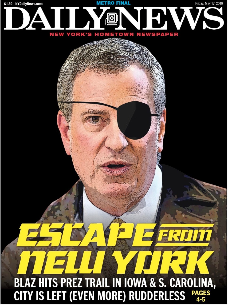 NY Daily News Cover. Screenshot by Rick Stachura. May 17, 2019.