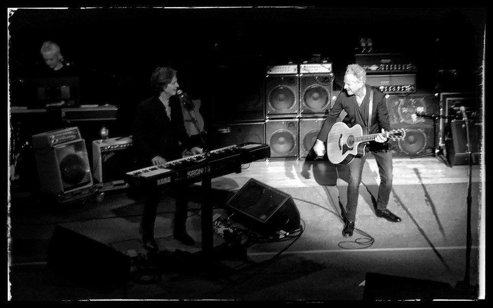 Lindsey Buckingham at Town Hall. With Michael Kianka (keyboards) and Brett Tuggle (keyboards). Photo by Rick Stachura. December 4, 2018.