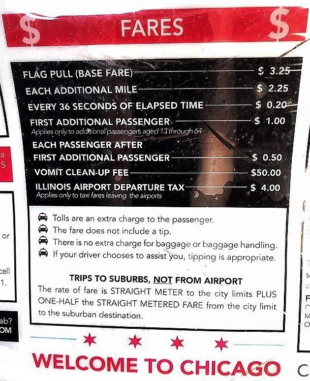 Taxi Cab Rules, O'Hare International Airport. Chicago, Illinois. Photo by Rick Stachura. May 23, 2019.