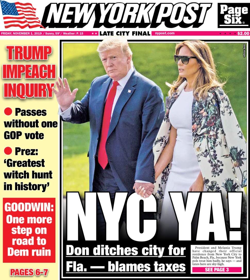 NY Post Cover. Screenshot by Rick Stachura. November 1, 2019.