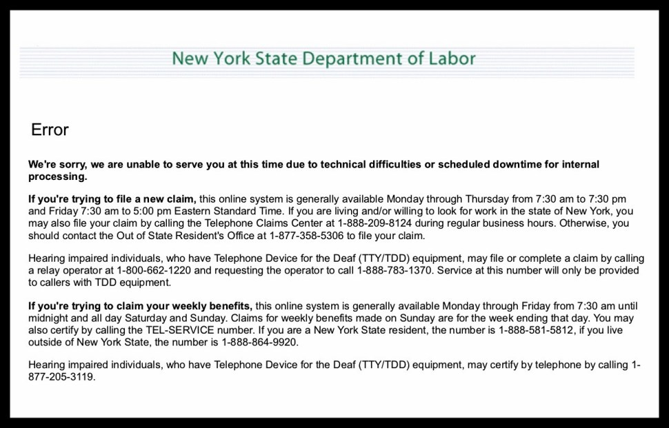 Screenshot from labor.ny.gov/unemploymentassistance.shtm. March 19, 2020.