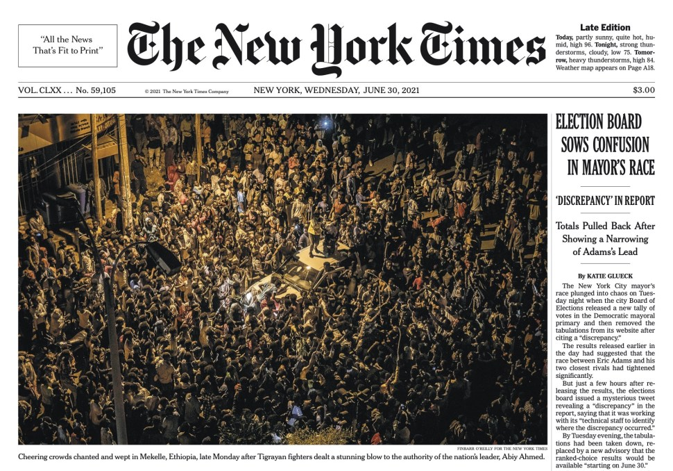 New York Times Cover. June 30, 2021.