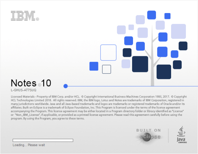 IBM Notes V10.0 splash screen