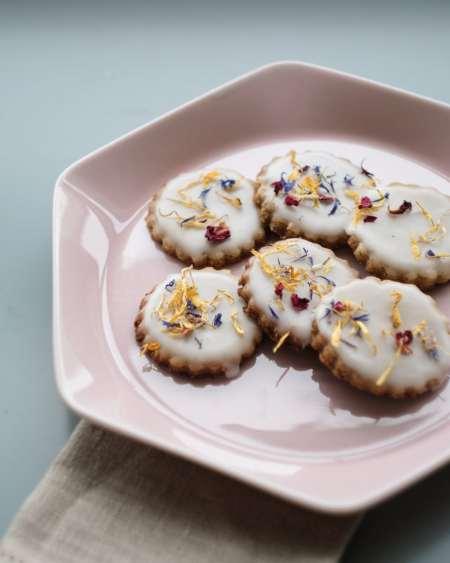 orange almond xmas cookies on plate