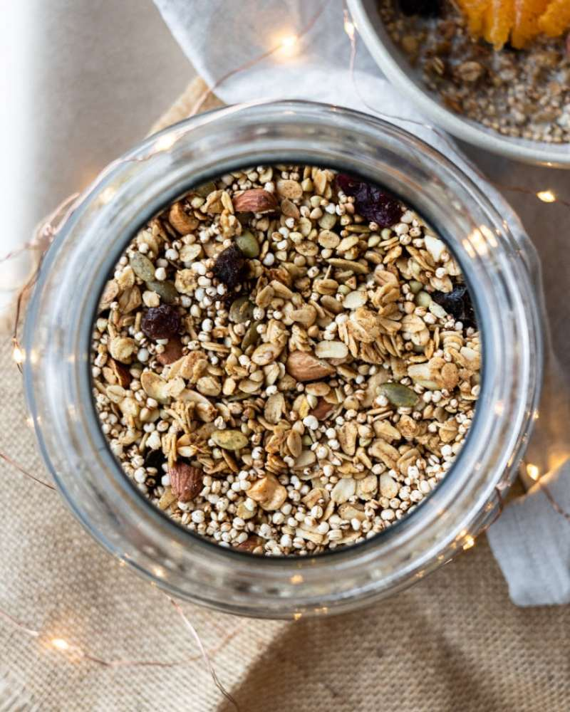 Christmas Fruit and Nut Granola in jar