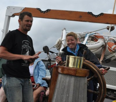 Eva ordered to take the wheel by our crazy captain Steve