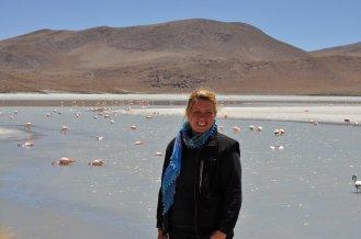 Bolivia, Eva at the Flamingo Lagoon