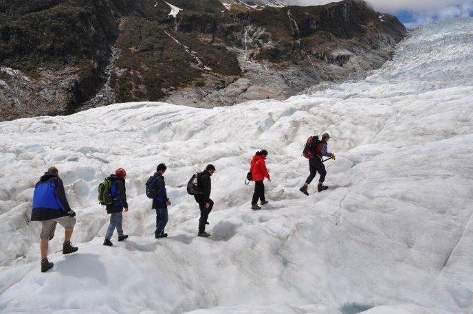 Walking up the Fox Glacier
