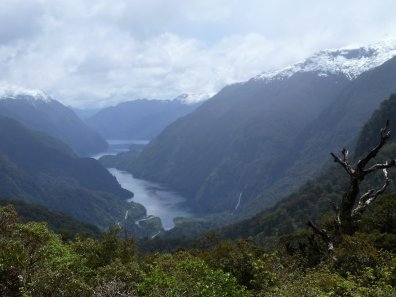Our first view of Doubtful Sound as we cross Wilmot Pass