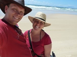 Bill & Eva on 75 mile beach