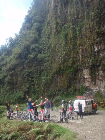 Death Road Bolivia getting ready to ride