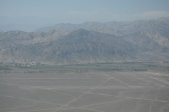 The lines drawn into the desert are clearly visible from the air