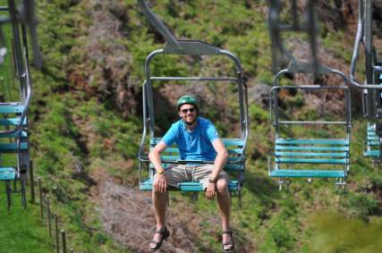Bill riding the chairlift