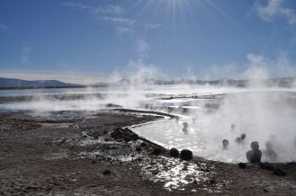 Bolivia, Hot Spring and blue sky