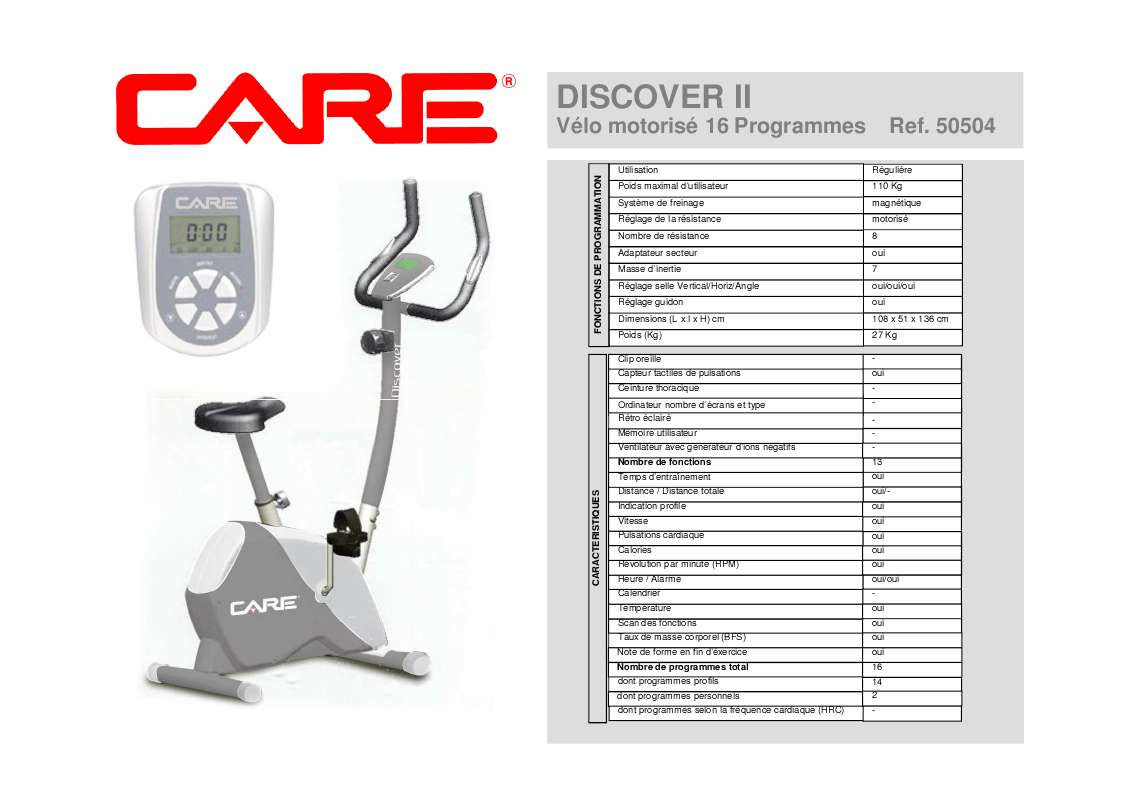 Notice D Utilisation Care Fitness Discover Ii 50504 Care Fitness Manuel Et Mode D Emploi