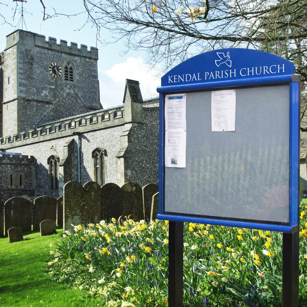 Scroll Post Mounted Church Noticeboards
