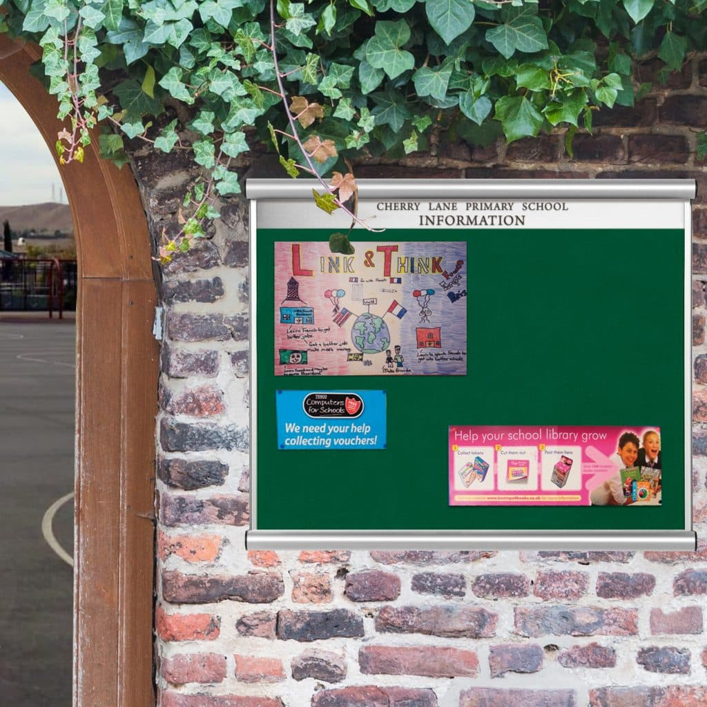 Scroll Wall Mounted Noticeboards With Internal Header Plate