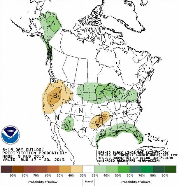Previsão de chuvas entre os dias 17 a 23 de agosto - Fonte: NOAA